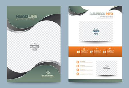 Illustration pour Green Annual report brochure design template curve style, Leaflet cover presentation abstract technology background, layout in A4 size. illustration. - image libre de droit
