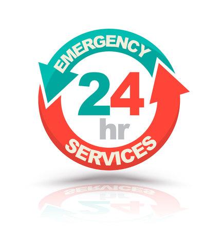 Ilustración de Emergency services 24 hours icon. Vector illustration - Imagen libre de derechos