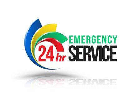 Ilustración de 24hr Emergency service logo. Vector illustration. - Imagen libre de derechos