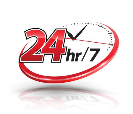 Ilustración de 24hr services with clock scale logo. Vector illustration. - Imagen libre de derechos