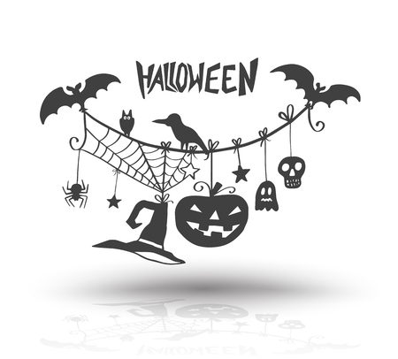 Illustration pour Halloween objects for halloween card and poster invite. Vector illustration. - image libre de droit