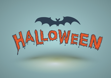 Foto per Halloween text drawn with bat. Vector illustration for Halloween card and poster. - Immagine Royalty Free