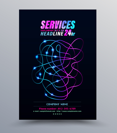 Foto per Cover template for network technology fibre optic. Vector illustration. - Immagine Royalty Free