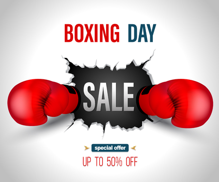 Boxing day sale on crack wall with punch poster template. Vector illustration for promotion advertising.