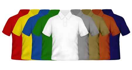 Color Polo Shirts on White Background