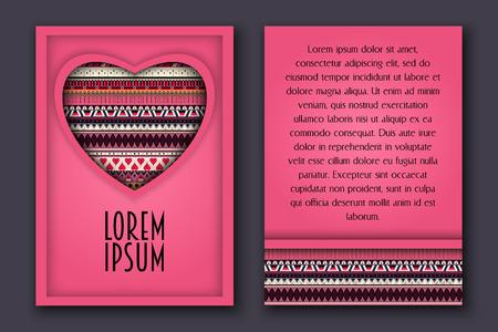Ilustración de Vintage romantic invitation 3D paper card with ornamental heart,can be used for valentine s day, wedding, birthday,anniversary, marriage, bridal. - Imagen libre de derechos