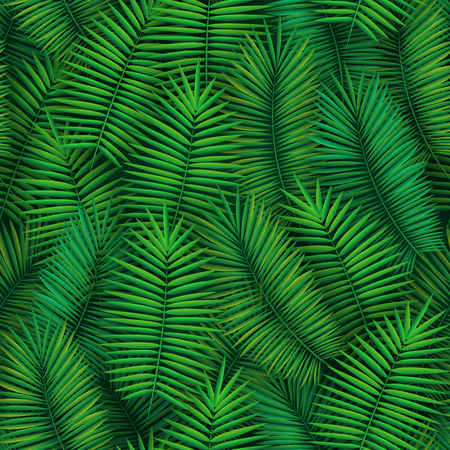 Illustration for Summer seamless pattern with realistic tropical palm leaves design. Exotic jungle backdrop - Royalty Free Image