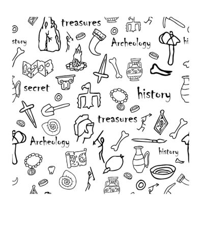 Illustration pour Doodle archeology, history seamless pattern in black and white colours stock vector illustration. Education, explore, research idea. Grunge hand drawn elements. - image libre de droit