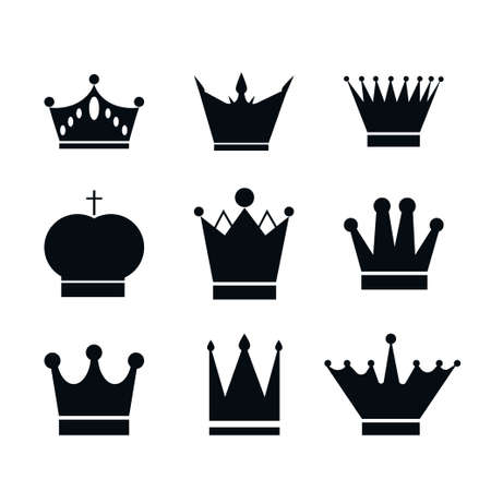 Illustration for Set, collection of black crowns isolated on white background. Icon, design element or stencil stock vector illustration. - Royalty Free Image