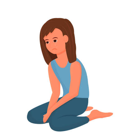Vektor für Depressed child, girl sitting alone, upset pose and face emotions isolated on white background. Unhappy, suffer person. Vector illustration - Lizenzfreies Bild