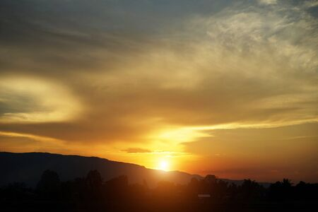 Photo pour Beautiful clouds and golden sky. The beautifu sky with Sunset background.                                 - image libre de droit