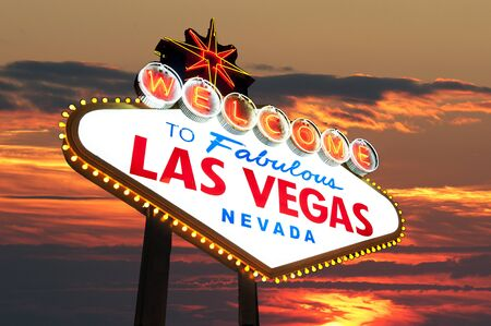 Famous Las Vegas Welcome Sign with sunset in the background