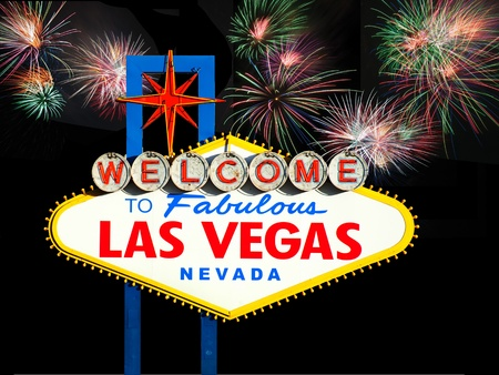 Welcome to Las Vegas Sign with Fireworks in the background