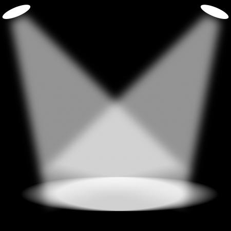 Spotlight on empty dark room