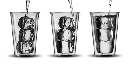 Glasses of Water with ice cubes