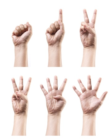 Set of counting hand sign isolated on white