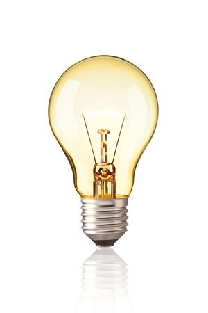 turn on tungsten light bulb, Realistic photo image Glowing yellow light bulb isolated on white background