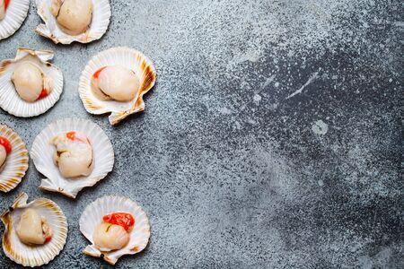 Photo pour Raw fresh uncooked scallops - image libre de droit