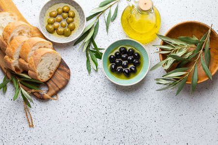 Photo pour Ingredients and appetizers for Italian or mediterranean meal - image libre de droit
