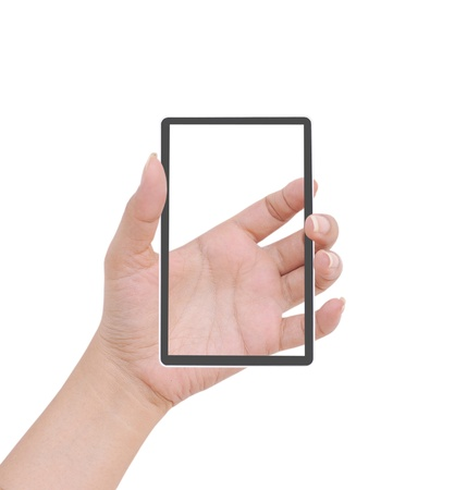 Hand  female to hold card, mobile phone, tablet PC or other palm gadget, isolated on white