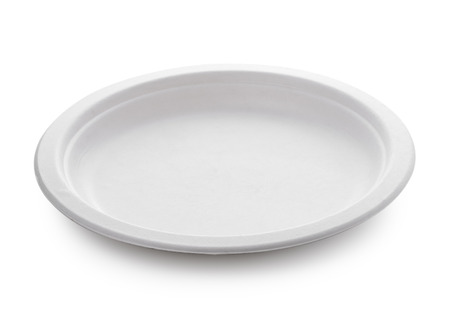 white paper plate isolated on white background