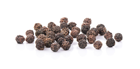 Black Peppercorns isolated on white background