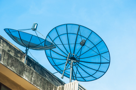Antenna communication satellite dish and blue sky