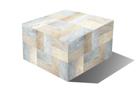 Marble cube isolated on white background