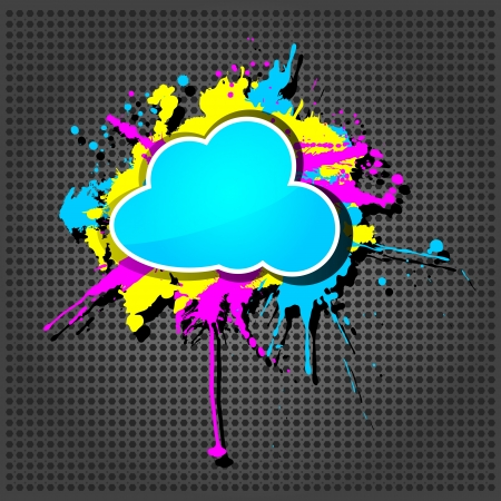 Illustration for Cute  grunge cloud computing icon frame on the metallic background  - Royalty Free Image