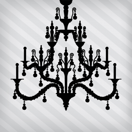 silhouette of luxury chandelier on a stripped background/ template design of invitation with chandelier