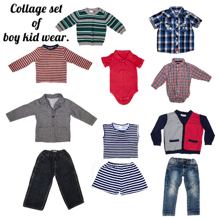 Fashion modern male baby clothes.Collage set of boy kid wear