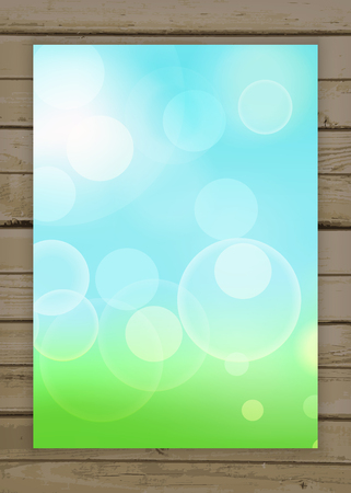 Beautiful spring abstract green natural light banner on the wooden background