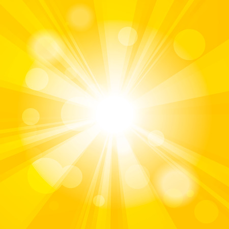 Bright yellow abstract festive bokeh sun effect background