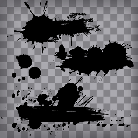 set of grunge black frrames from ink brush strokes isolated on transparency background