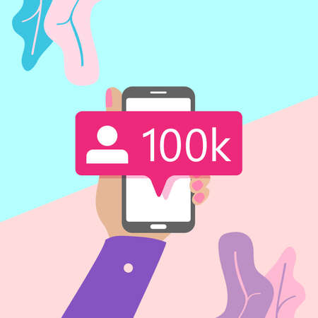 Illustration for flat lay modern minimal hand holding mobile phone with new pink ten chiliad like followers social media iconon screen with shadow on pastel colored blue and pink background. Pink bubble icon set for websites, blog, mobile interfaces - Royalty Free Image