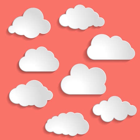 Illustration pour Vector illustration of clouds collection on Living Coral color of the Year 2019 - image libre de droit