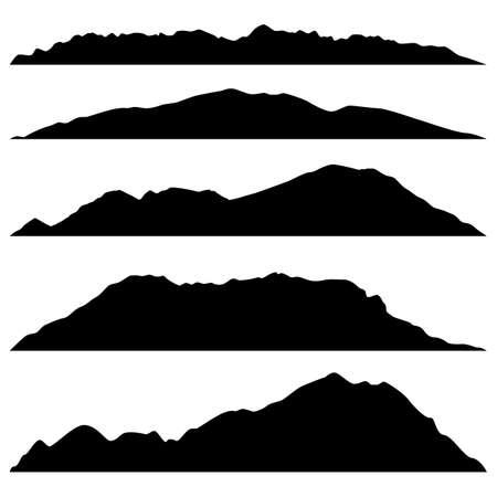 Illustration pour set of black mountains silhouettes on white background - image libre de droit