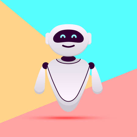Illustration pour white robot or chat bot with artificial intelligence on pink blue colored pastel background - image libre de droit