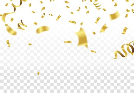 Golden Party Flags With Confetti And Ribbon Falling On White Background. Celebration Event & Birthday. Vector