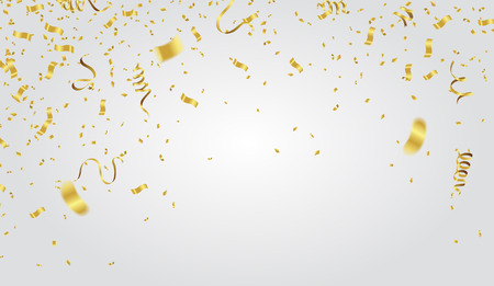 Ilustración de Abstract background party celebration gold confetti on white background. Christmas greeting concept. - Imagen libre de derechos