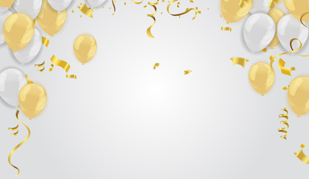 Illustration pour Stock vector illustration realistic defocused golden confetti, glitters Isolated on Background and balloons White golden - image libre de droit