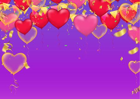 Illustration for Vector party Heart balloons illustration. Confetti and ribbons flag Celebration purple background template typography for greeting - Royalty Free Image