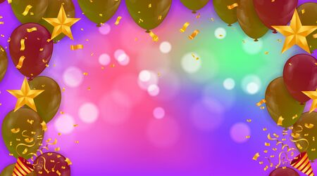 Illustration for Pink light balloons and colorful  balloons on the  background. Eps 10 vector file - Royalty Free Image
