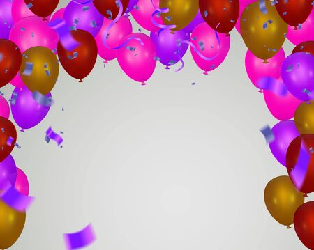 Illustration for Pink light balloons and colorful  balloons on the  background. - Royalty Free Image