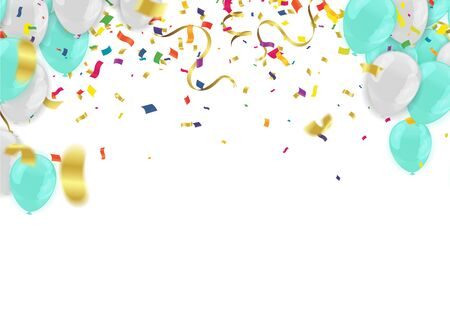 Illustration for Abstract Background with Shining white and blue Balloons. Birthday, Party, Presentation - Royalty Free Image