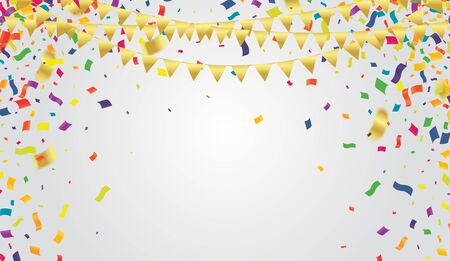 Illustration pour Many Falling Colorful Tiny Confetti And Ribbon On Transparent Background for party or festival   - image libre de droit