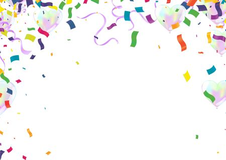 Illustration for balloons colorful confetti Celebration carnival ribbons. luxury greeting rich card. - Royalty Free Image