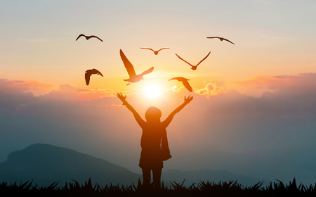 Photo pour Women holding hands on the mountain evening sunshine show freedom and flying birds silhouette - image libre de droit