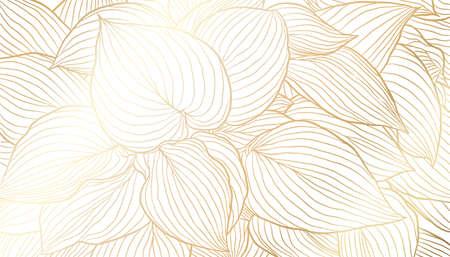 Illustration pour Golden leaves hand drawn line art on white background. Luxury art deco wallpaper design for print, poster, cover, banner, fabric, invitation. Vector digital illustration. - image libre de droit
