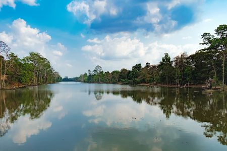 Beautiful Lake Nestled Among Rainforest In Cambodia Under